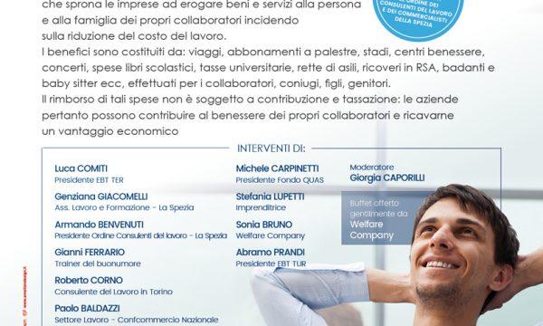 LA SPEZIA, GIOVEDI' 19 OTTOBRE ORE 14.30: Welfare, coniugare benessere della persona e produttività di impresa