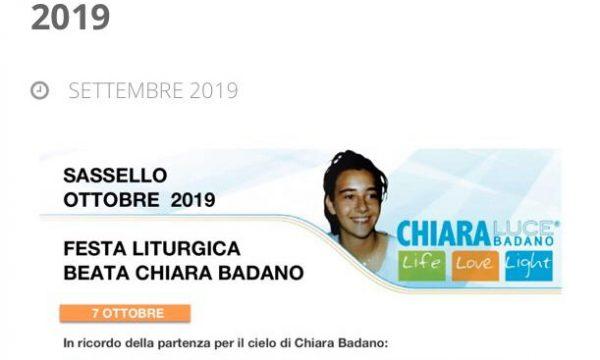 CHIARA LUCE BADANO – RICORRENZE OTTOBRE 2019 a SASSELLO