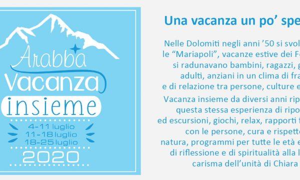 "Mariapoli ""Vacanza insieme 2020"" – ad Arabba (Dolomiti)- SOSPESA al 2021"